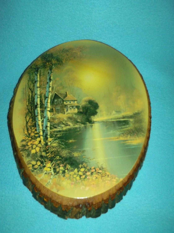 Vintage WOOD SLAB BARK Plaque WOODEN Country Home LAKE SCENE