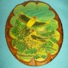 WOOD SLAB BARK Plaque WOODEN Birds WINTERMUTE INDUSTRIES Steve Miller 1987 Vintage