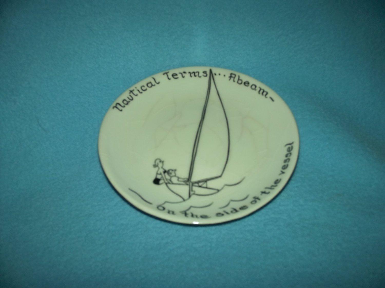 CHON DAY Cartoon DISH Very Rare NAUTICAL TERMS Sailing VINTAGE