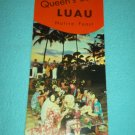Vintage QUEEN'S SURF LUAU Hawaii BROCHURE Waikiki Beach NATIVE FEAST