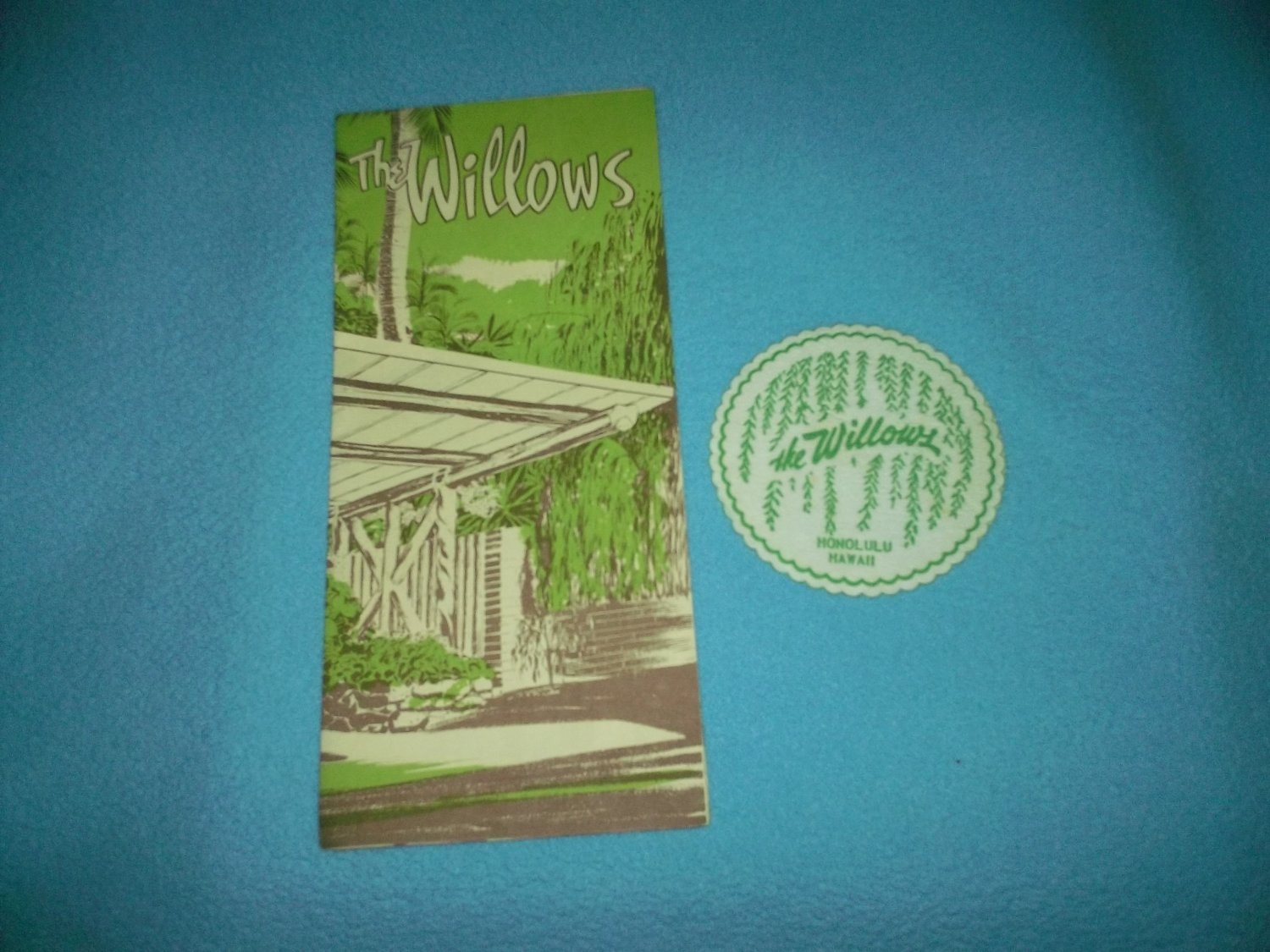 Vintage THE WILLOWS Hawaii Restaurant BROCHURE and COASTER Jerry Chong Art