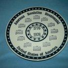 AMERICAN REVOLUTION BICENTENNIAL Calendar Plate 1976 Vintage BLUE WHITE