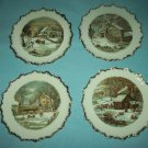 Vintage CURRIER AND IVES Plate SET OF FOUR Homestead MADE IN JAPAN