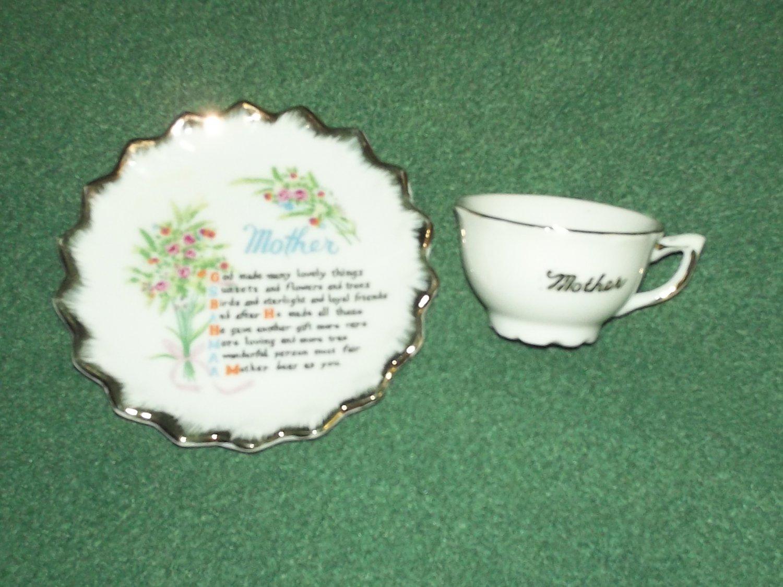 MOTHER CUP AND SAUCER Vintage~JAPAN~POEM Mini