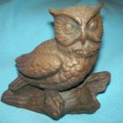 RED MILL MFG OWL ON LOG FIGURINE ~ USA MADE~ORIG STICKER