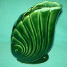 VINTAGE HULL? POTTERY PLANTER VASE ~SHELL~GREEN WITH FOAM