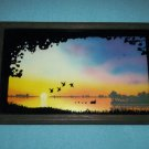 VINTAGE SILHOUETTE REVERSE PAINTING ON GLASS PICTURE~1977~DUCK POND AT SUNSET~FRAMED