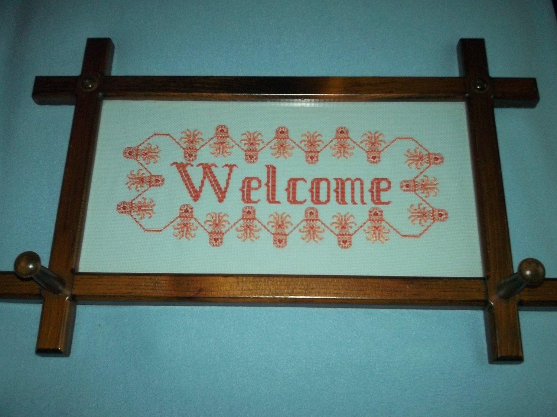 FRAMED WELCOME CROSS-STITCH SAMPLER HOME DECOR
