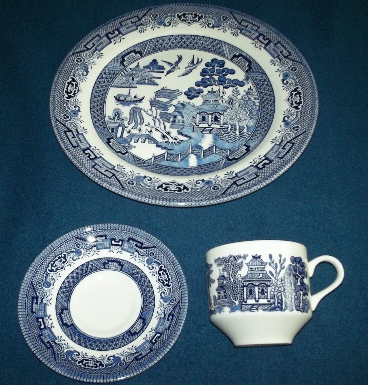Churchill Blue Willow 3 Pcs Dinner Set Plate Cup Saucer