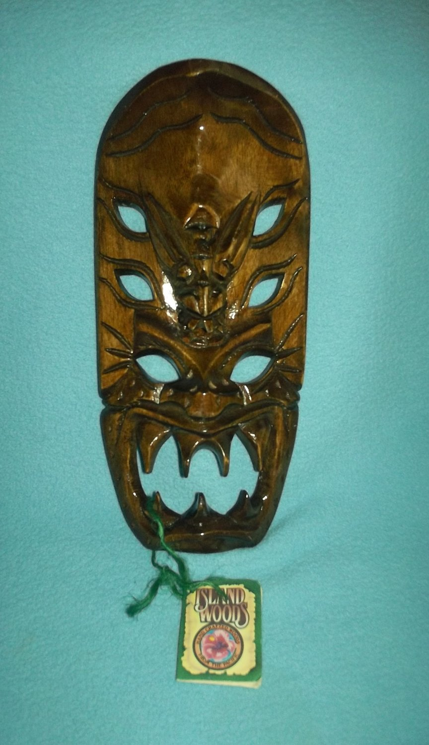 Island Woods Hand Carved Wooden Tiki Hawaiian Mask Scary Teeth