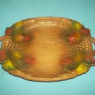 Vintage MULTI PRODUCTS Leaves and GRAPES Tray Wood Feel USA