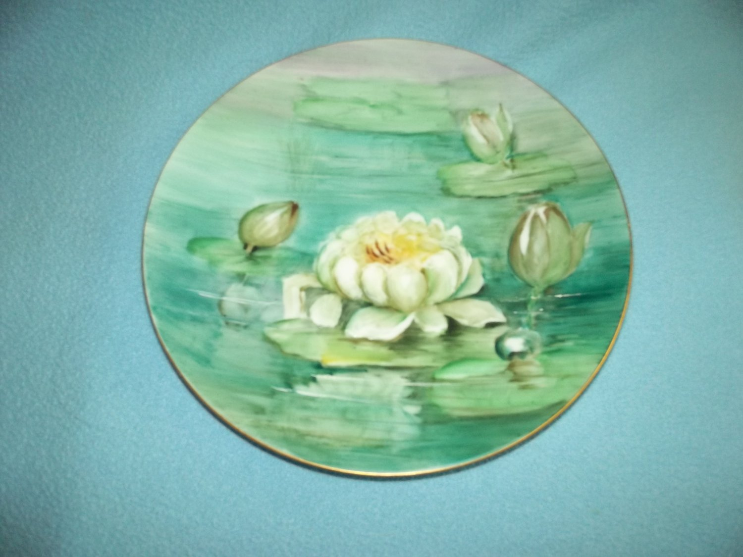 Vintage Classic Bavaria Germany Water Lilies Hand Painted