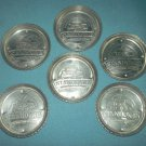 Vintage ALUMINUM Stanhome STANLEY HOME PRODUCTS Coaster Set of 6 ADVERTISING