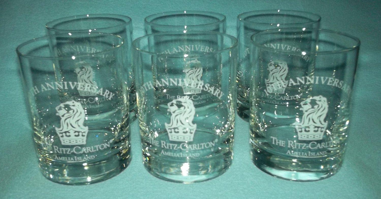 RITZ-CARLTON Amelia Island 10TH Anniversary COCKTAIL GLASSES Set of 6 HTF
