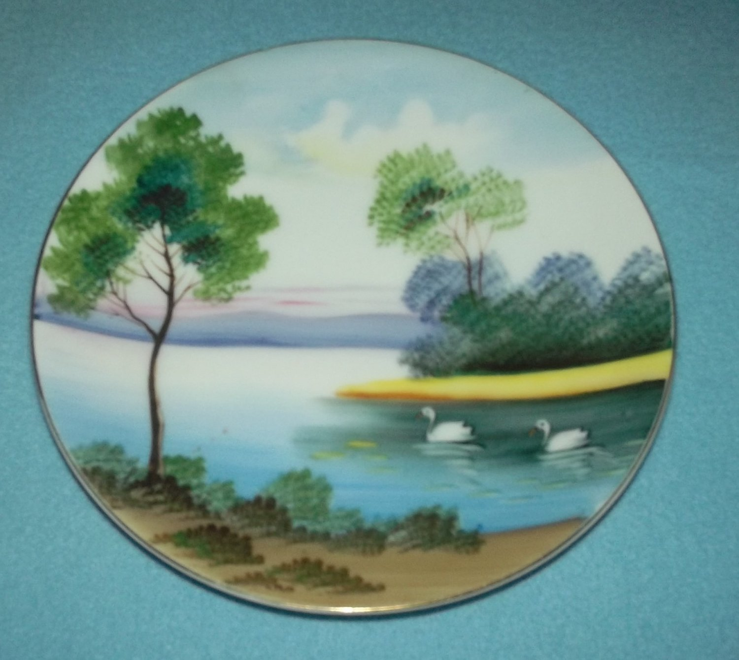Vintage Andrea Occupied Japan Hand Painted Plate Swans