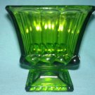 Vintage GREEN OLIVE GLASS Pedestal Vase Planter RIBBON DESIGN