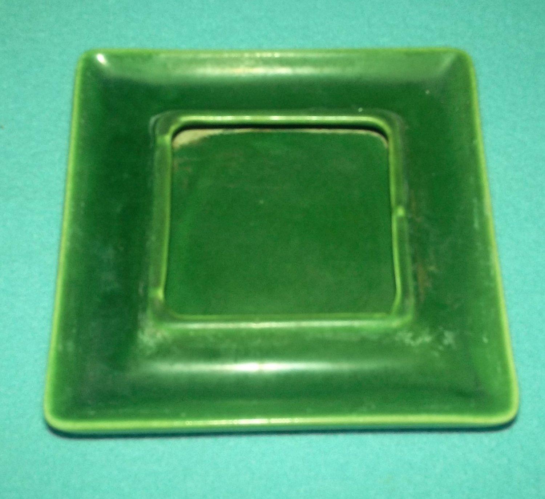 Vintage KELLEMS POTTERY PASADENA Saucer CALIFORNIA POTTERY Olive Green For Planter