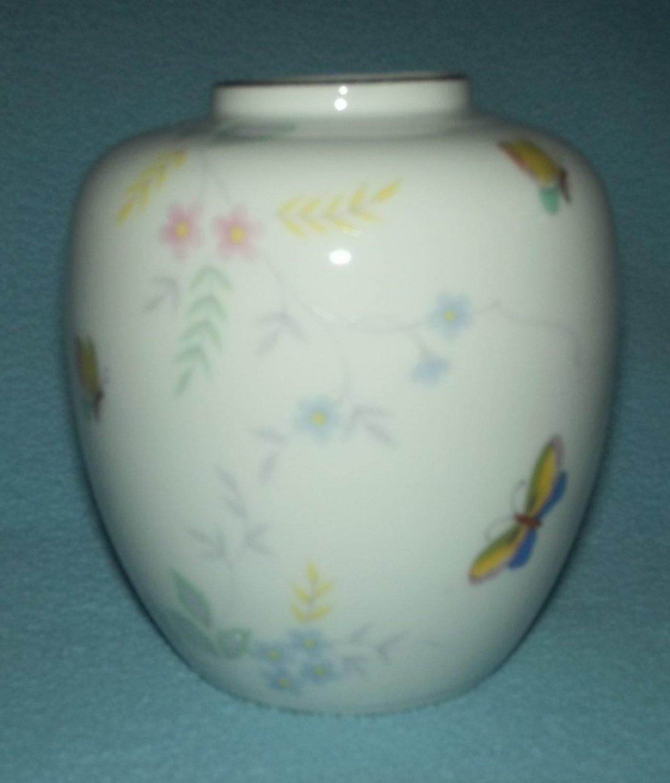 Lovely KAKUMO CHINA Japan BUTTERFLIES and FLOWERS Vase VINTAGE Light Flower