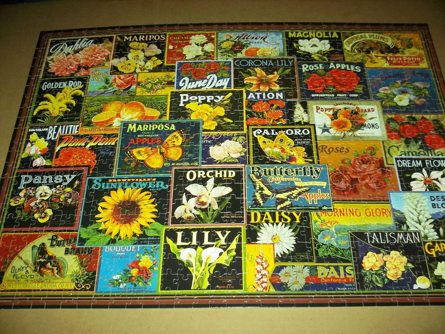 PUZZLE COLLECTION 750 PC JIGSAW PUZZLE ~ADVERT. Flowers LABELS~COMPLETE~Rose, Magnolia, Dahlia