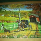 J. CHARLES Jigsaw Puzzle AMISH AFTERNOON 1000 pc Covered Bridge