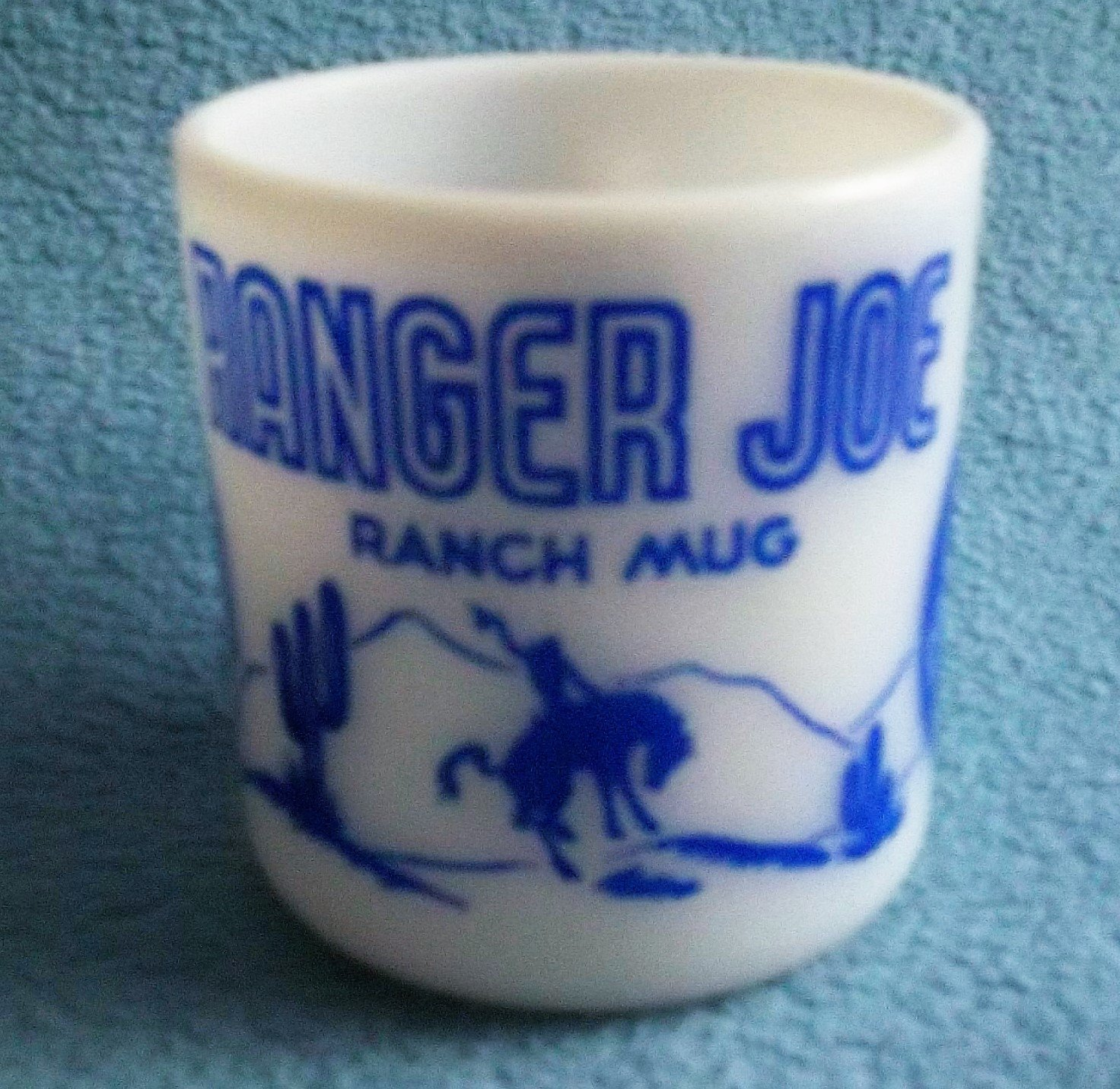 Vintage Child's RANGER JOE RANCH MUG 50's Cowboy BLUE/WHITE Hazel Atlas Milk Glass