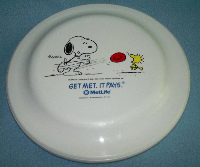 MetLife PEANUTS GANG Snoopy Woodstock FRISBEE Advert. FLYING DISK Humphrey Flyer