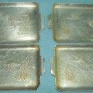 Vintage ALUMINUM Small Tip Trays EVERLAST ? Tab handles Set of 4 DUCKS GEESE CATTAILS