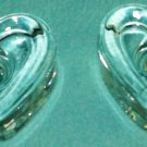 Glass HEART SHAPED Candle Holders Votives SET OF 2 CLEAR