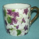 Vintage LEFTON JAPAN Purple Violets TEA CUP Demitasse Chintz Style Gold