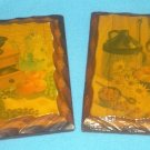 Set of 2 Vintage WOOD SLAB BARK PLAQUES Wooden Scene COFFEE GRINDER STONEWARE JUG