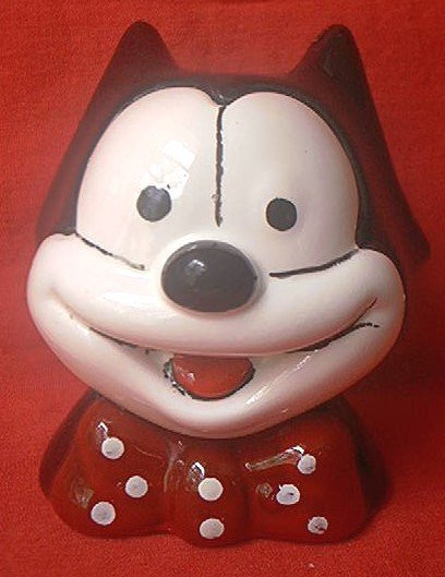 VINTAGE FELIX THE CAT BANK ~ CERAMIC BUST--WIDE SMILE-BOW TIE