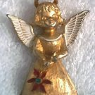 CHRISTMAS ANGEL JEWELRY PIN BROOCH ~GOLDTONE~SWEET~MYLU ?