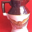 McCOY POTTERY WOODEN EAGLE SMALL PITCHER  ~AMER FLAG~BROWN/CREAM~SPIRIT OF 76~bicentennial