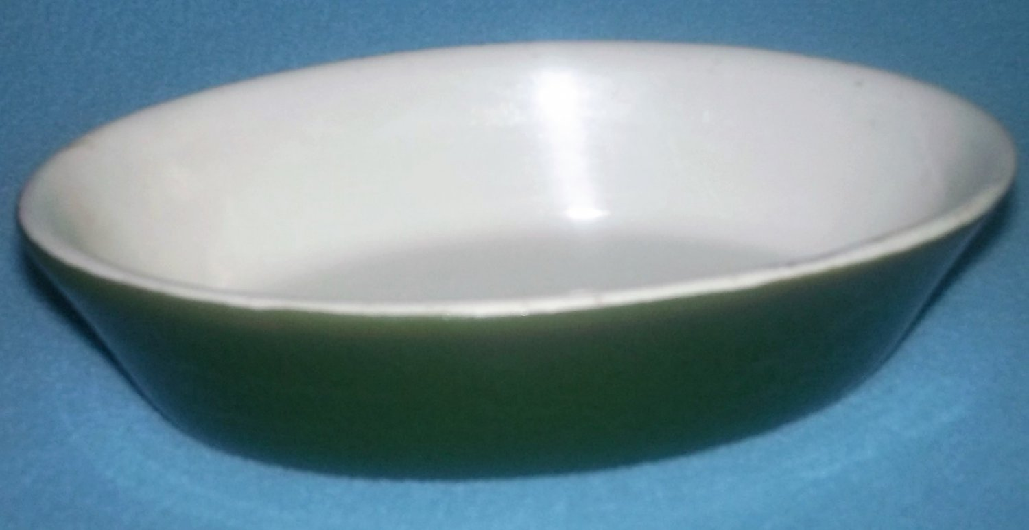 VINTAGE HALL CHINA CO INDIVIDUAL OVAL CASSEROLE BAKER DISH NUMBER 550 FOREST GREEN