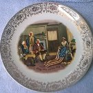 VINTAGE HOMER LAUGHLIN ? BETSY ROSS AND THE FLAG COMMEMORATIVE PLATE ~GOLD TRIM~G WASHINGTON