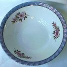 VINTAGE BLUE LUSTREWARE BOWL~JAPAN~6 IN~PURPLE FLOWERS