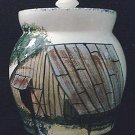 COW CREEK POTTERY~TEXAS~COOKIE JAR~HAND-PAINTED RURAL BARN SCENE~MADE BY JOSE