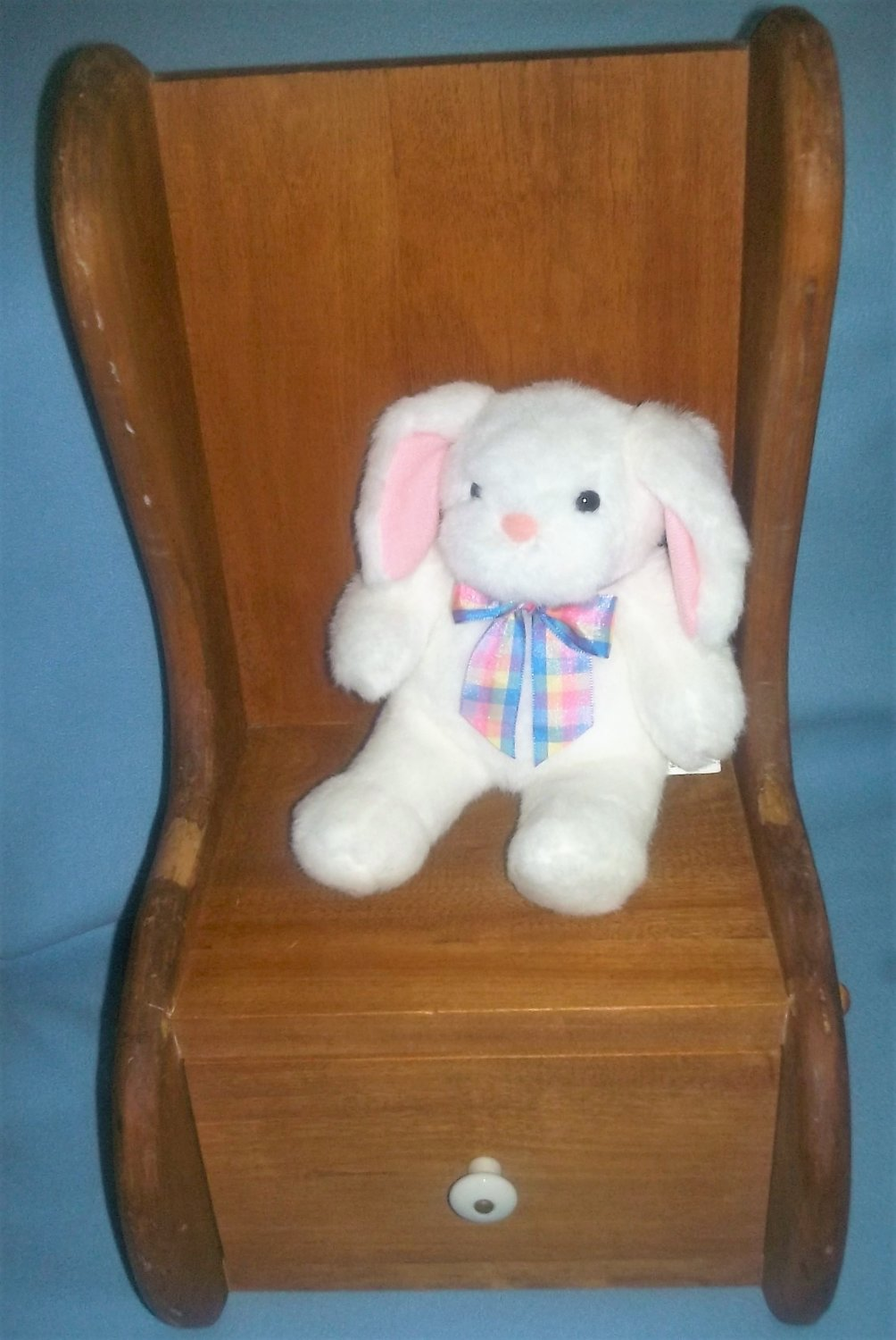Vintage WOODEN Wood Child Doll CHAIR Seat SOLID Folk Hand-Made HIGH BACK Drawer CUTE!