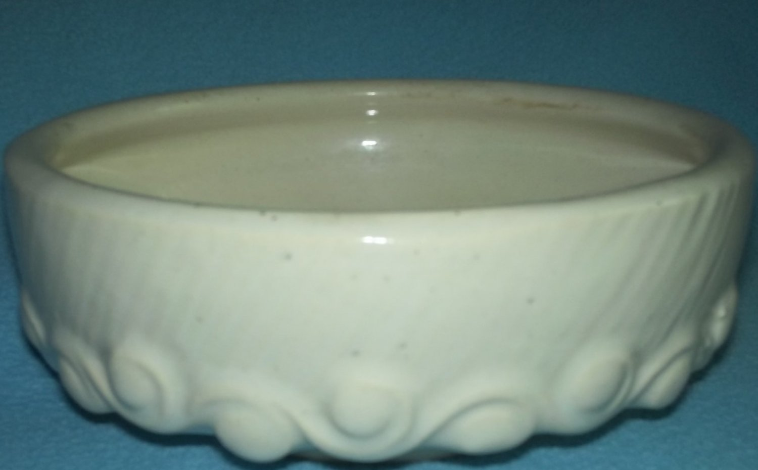 Vintage NELSON McCOY Planter CREAMY WHITE Waves Swirls Round 1940's