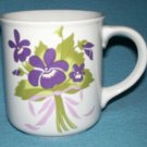 Vintage AFRICAN VIOLETS Purple Violet Violas MUG Pretty Bouquet 1980's