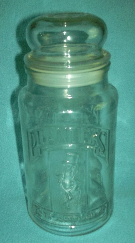 PLANTERS PEANUT Mr. Peanut 75TH ANNIVERSARY GLASS COMMEMORATIVE JAR 1981 has plastic cap