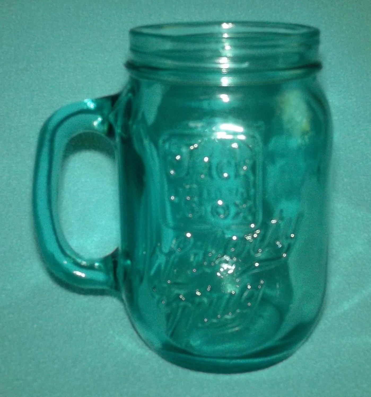 Vintage JACK IN THE BOX RESTAURANT 1976 Bicentennial BLUE GLASS MUG Mason Jar
