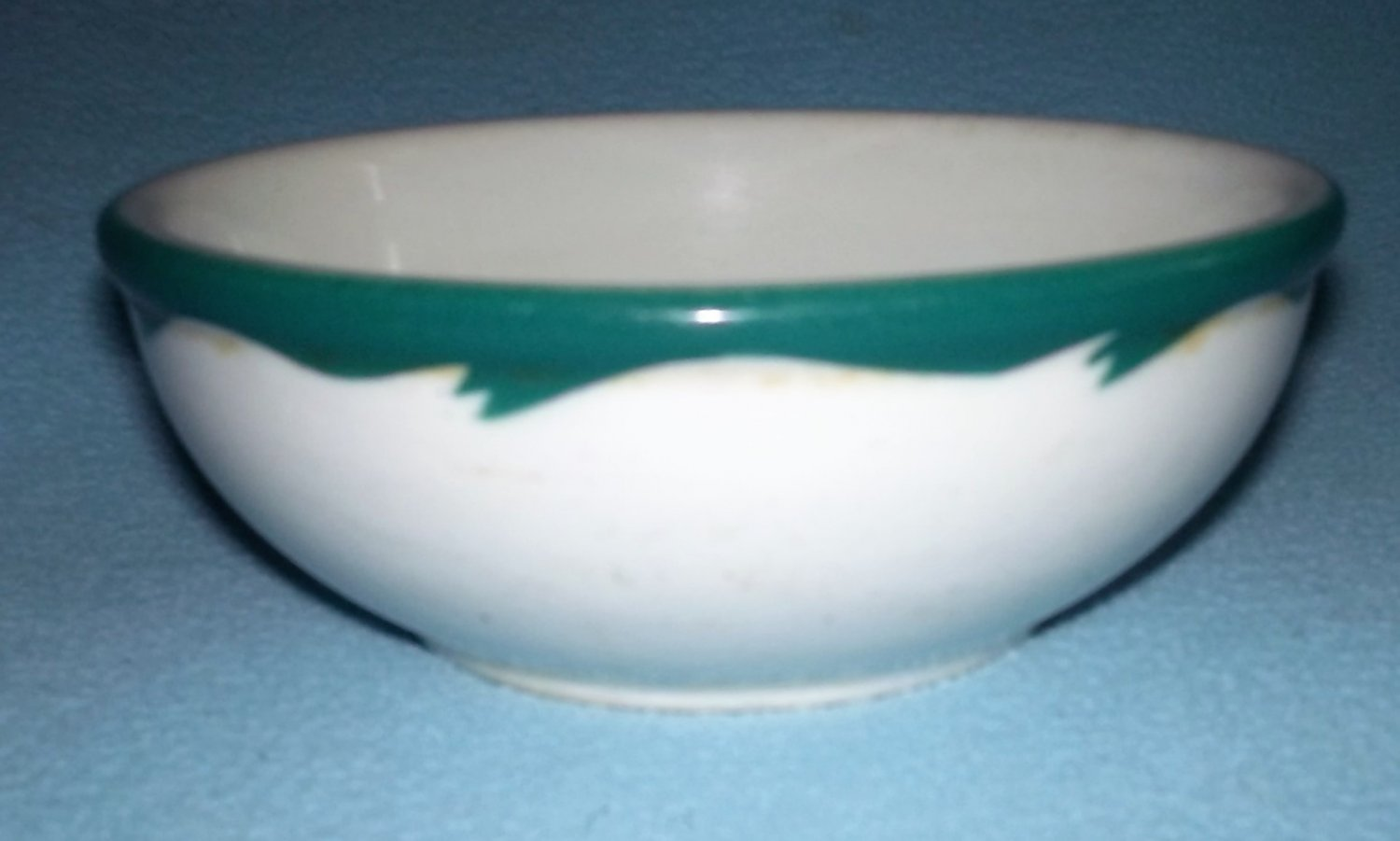 VINTAGE ABC Vitrified China BOWL Green Wave Design RESTAURANT WARE