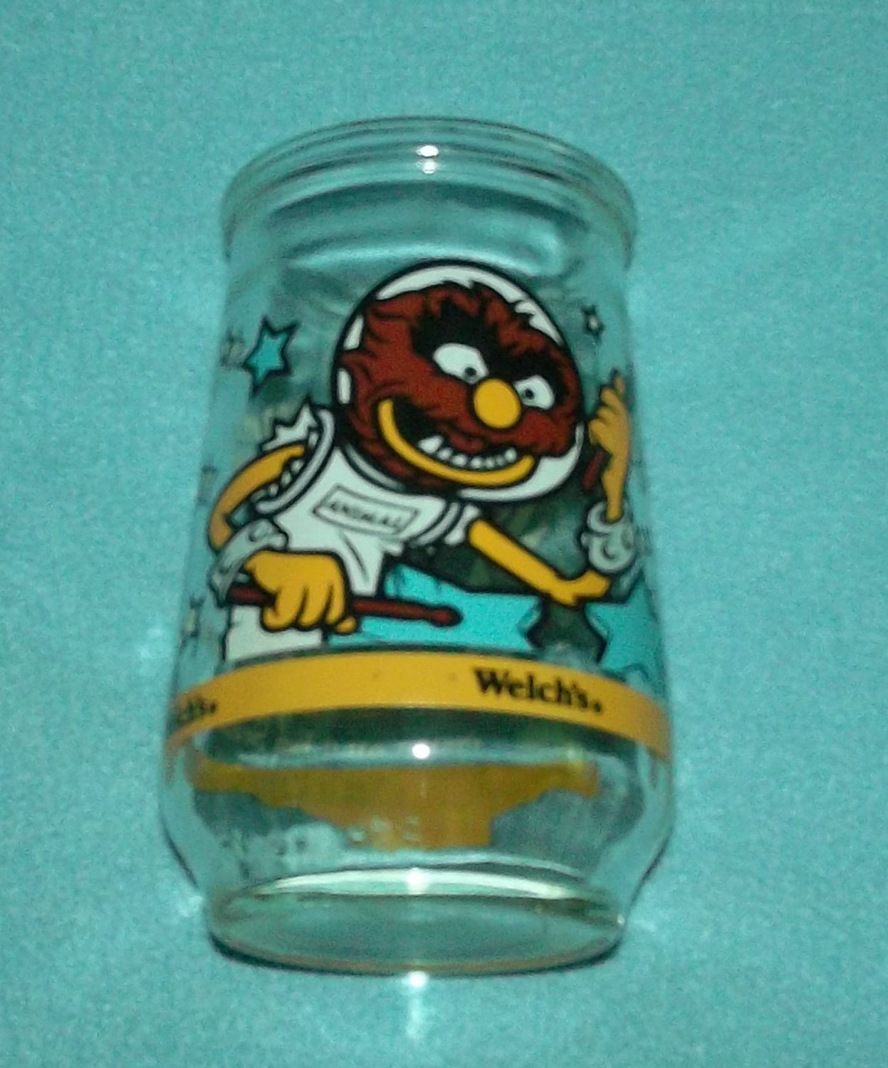 WELCH'S JAM JELLY JUICE COLLECTOR GLASS ~MUPPETS IN SPACE~ANIMAL JAMS WITH THE STARS #6