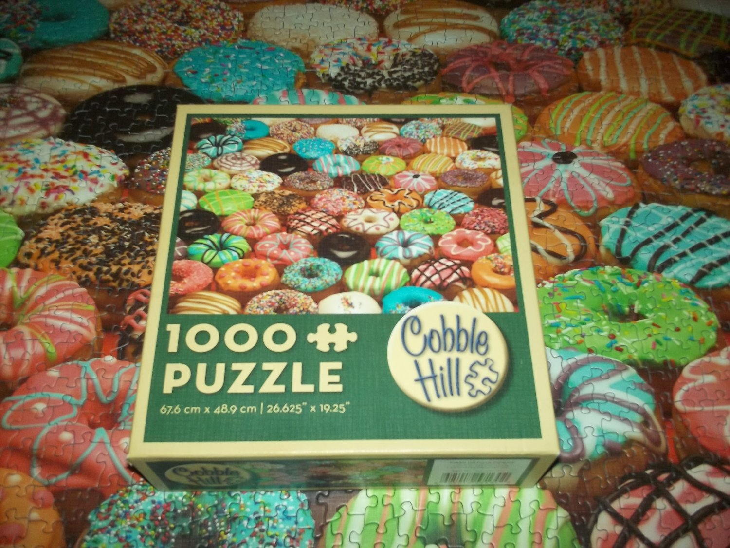 COBBLE HILL Jigsaw Puzzle DOUGHNUTS 1000 PC Chocolate Covered Sprinkles Pink Icing