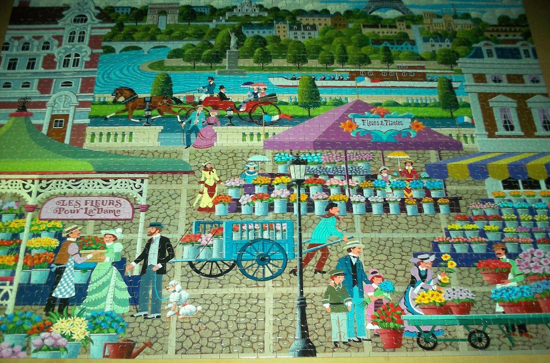 MEGA HOMETOWN JIGSAW PUZZLE~HERONIM WYSOCKI Paris Flower Market France COMPLETE~EIFFEL TOWER