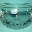 Vintage BOHEMIA GLASS CRYSTAL Bowl CZECH REPUBLIC Gold Rim Clear ORIG. STICKER