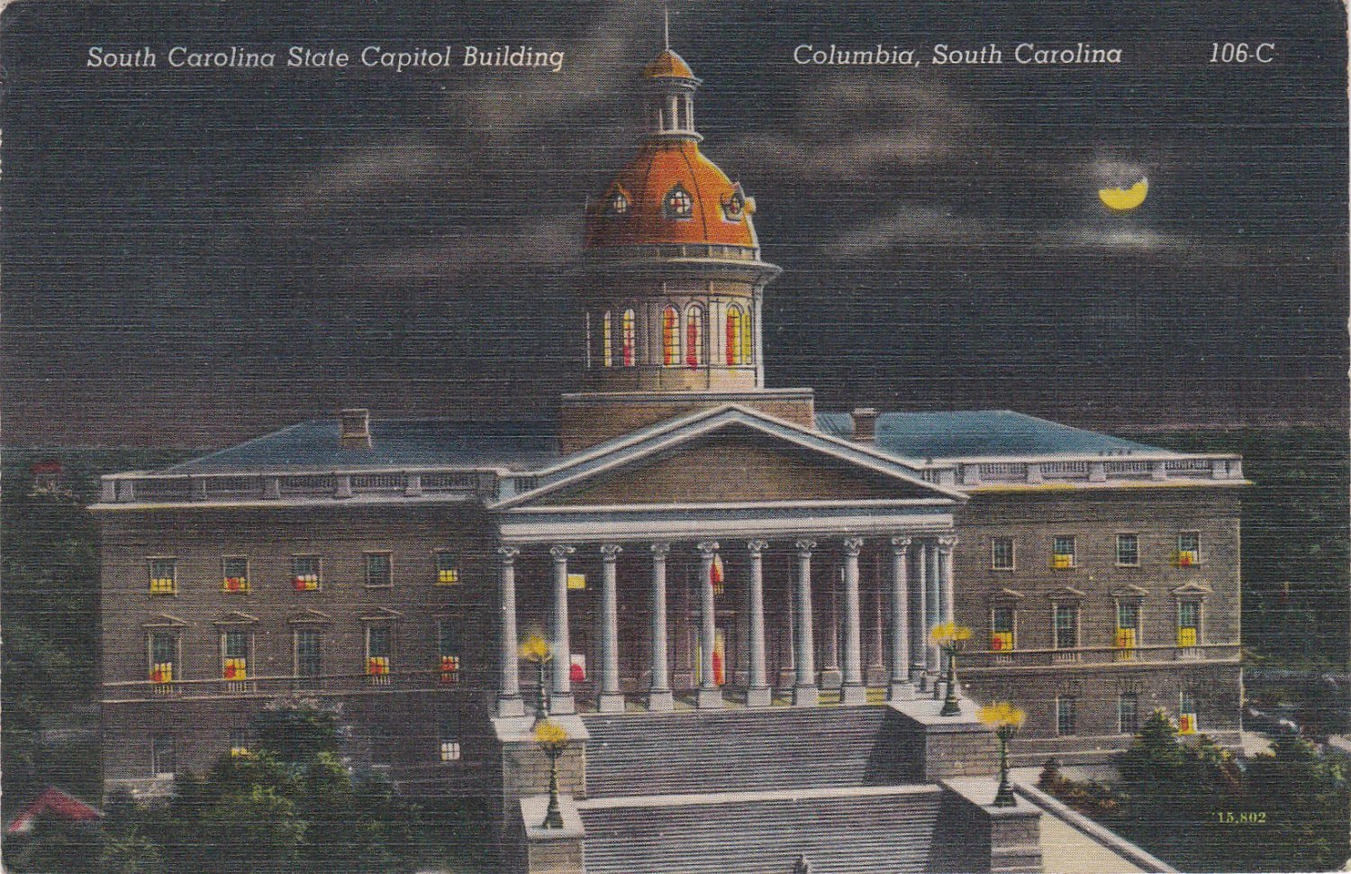 Vintage STATE CAPITOL BUILDING AT NIGHT, COLUMBIA SC Postcard Linen