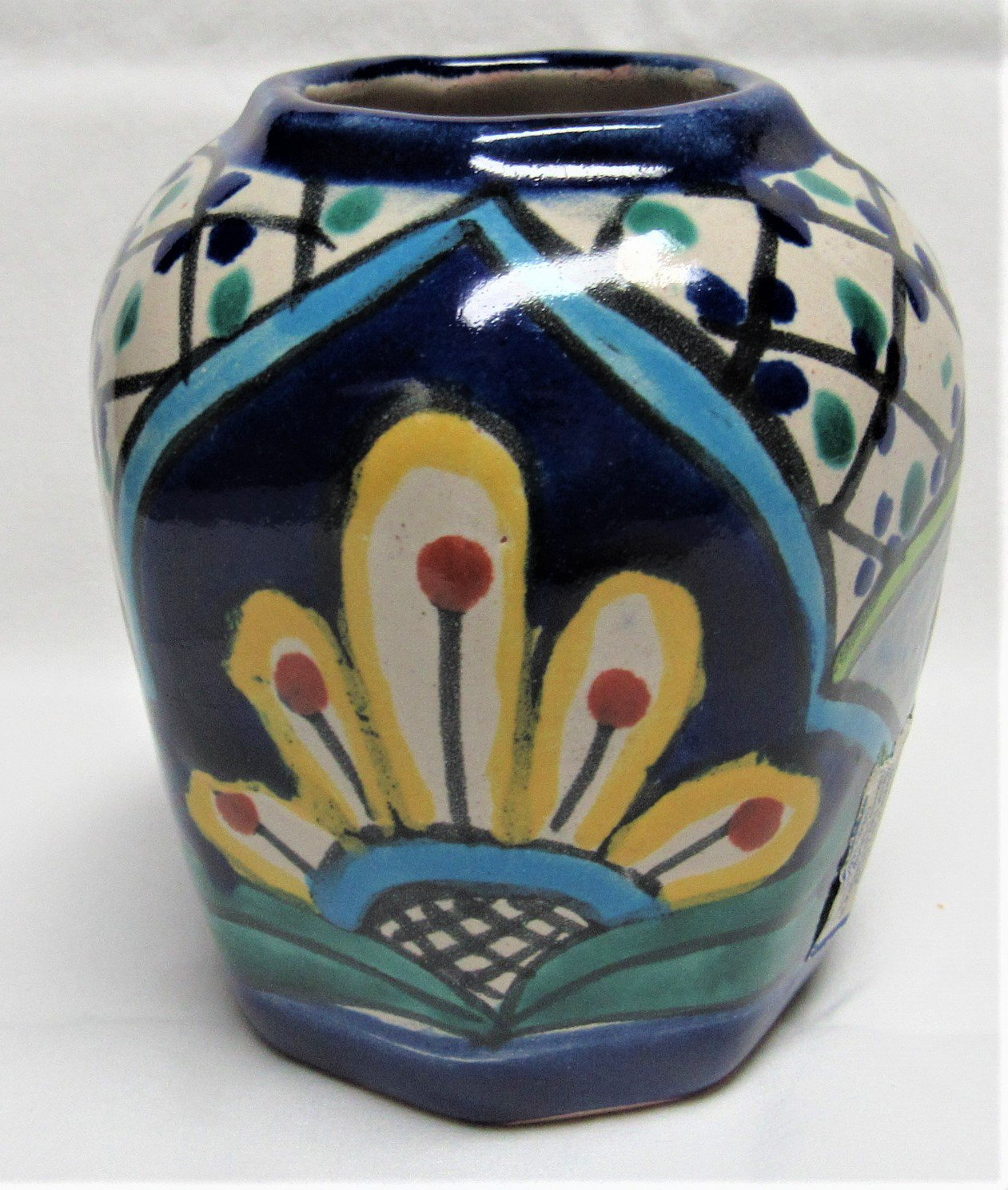 Lovely ALBA TALAVERA MEXICAN POTTERY Vase Candle Colorful Hand Painted SIGNED