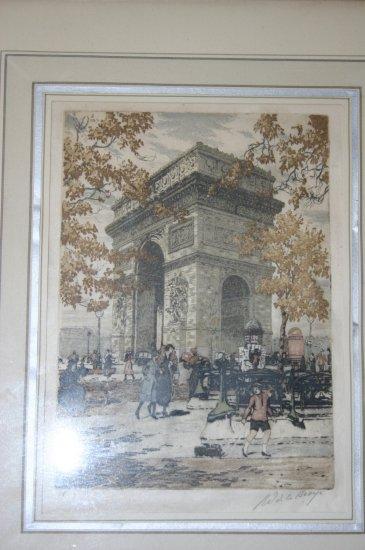 Arche De La Broye Handtinted Print